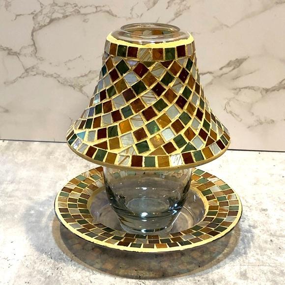 Yankee Candle mosaic jar candle shade and plate